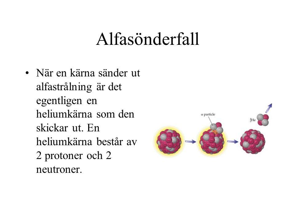 Alfasönderfall När en kärna sänder ut alfastrålning är det egentligen en heliumkärna som den skickar ut. En heliumkärna består av 2 protoner och 2 neu