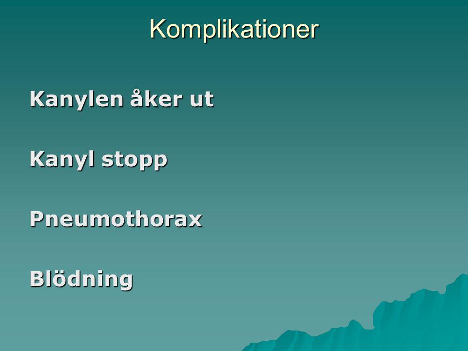 Komplikationer Kanylen åker ut Kanyl stopp PneumothoraxBlödning