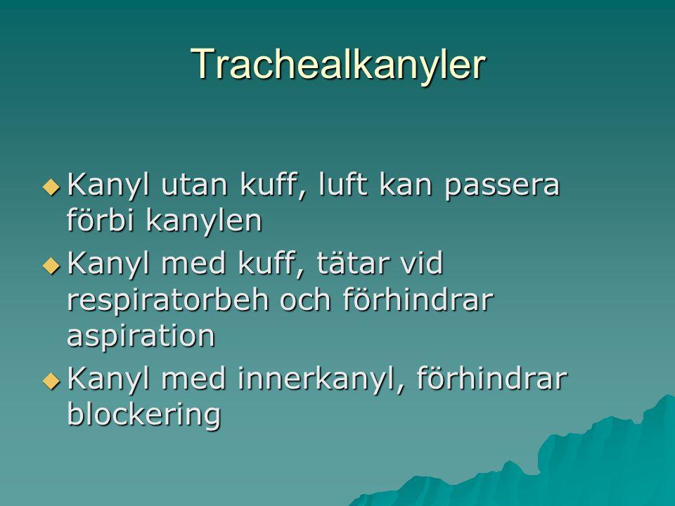 Trachealkanyler  Kanyl utan kuff, luft kan passera förbi kanylen  Kanyl med kuff, tätar vid respiratorbeh och förhindrar aspiration  Kanyl med inne