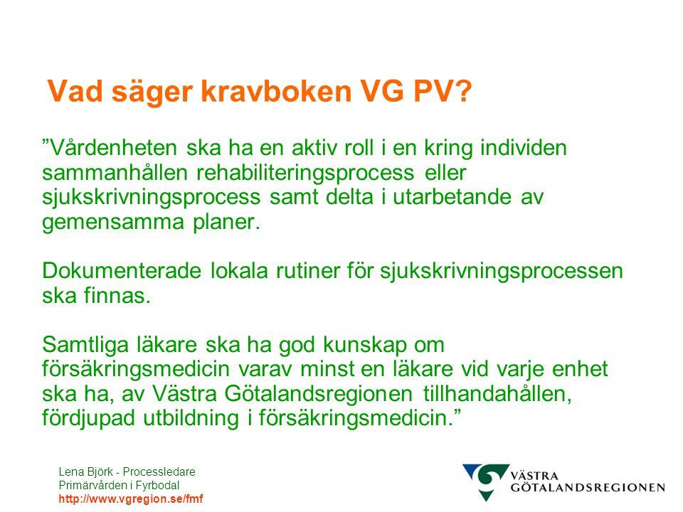 Lena Björk - Processledare Primärvården i Fyrbodal http://www.vgregion.se/fmf Vad säger kravboken VG PV.