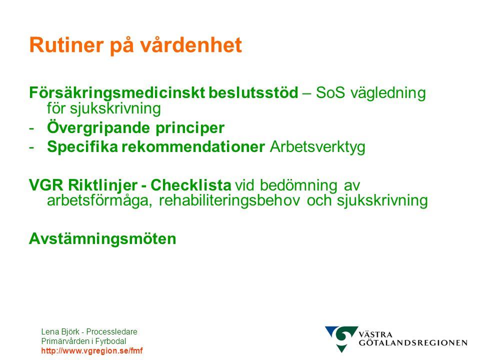 Lena Björk - Processledare Primärvården i Fyrbodal http://www.vgregion.se/fmf Rutiner på vårdenhet Försäkringsmedicinskt beslutsstöd – SoS vägledning för sjukskrivning -Övergripande principer -Specifika rekommendationer Arbetsverktyg VGR Riktlinjer - Checklista vid bedömning av arbetsförmåga, rehabiliteringsbehov och sjukskrivning Avstämningsmöten