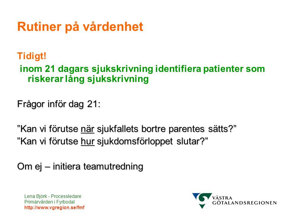 Lena Björk - Processledare Primärvården i Fyrbodal http://www.vgregion.se/fmf Rutiner på vårdenhet Tidigt! inom 21 dagars sjukskrivning identifiera pa