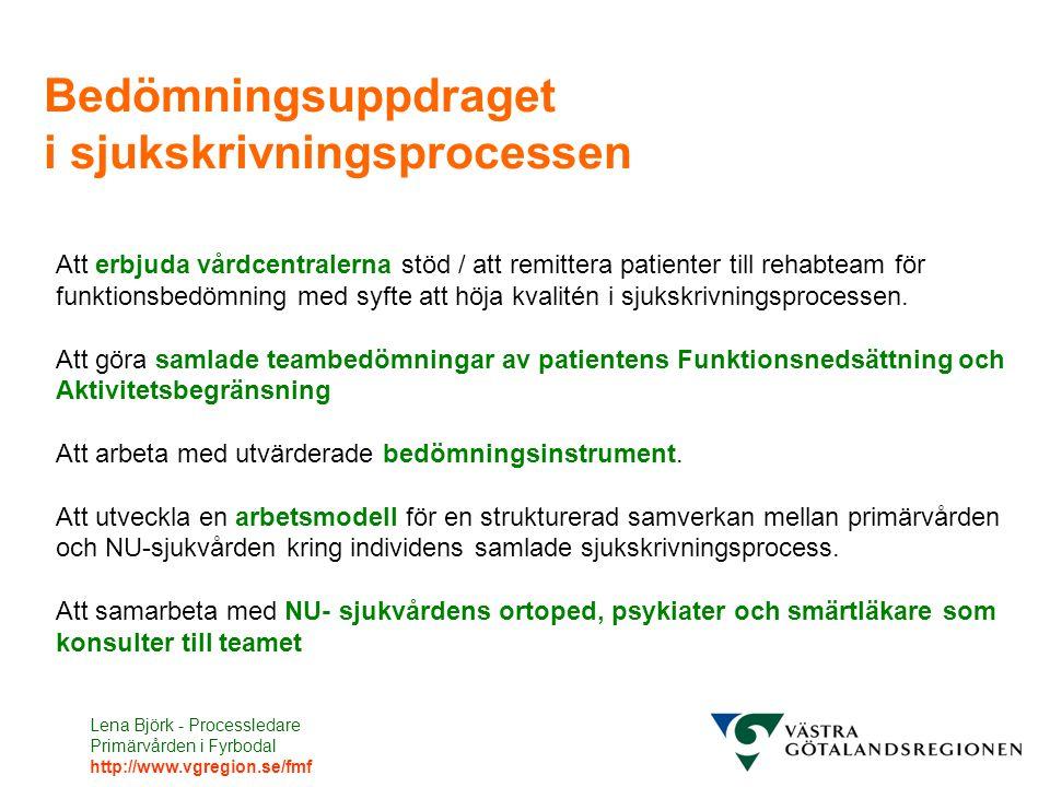 Lena Björk - Processledare Primärvården i Fyrbodal http://www.vgregion.se/fmf Bedömningsuppdraget i sjukskrivningsprocessen Att erbjuda vårdcentralerna stöd / att remittera patienter till rehabteam för funktionsbedömning med syfte att höja kvalitén i sjukskrivningsprocessen.