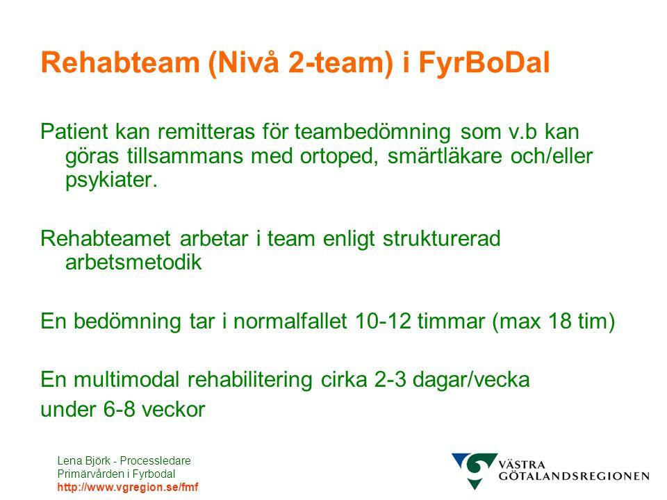Lena Björk - Processledare Primärvården i Fyrbodal http://www.vgregion.se/fmf Rehabteam (Nivå 2-team) i FyrBoDal Patient kan remitteras för teambedömning som v.b kan göras tillsammans med ortoped, smärtläkare och/eller psykiater.