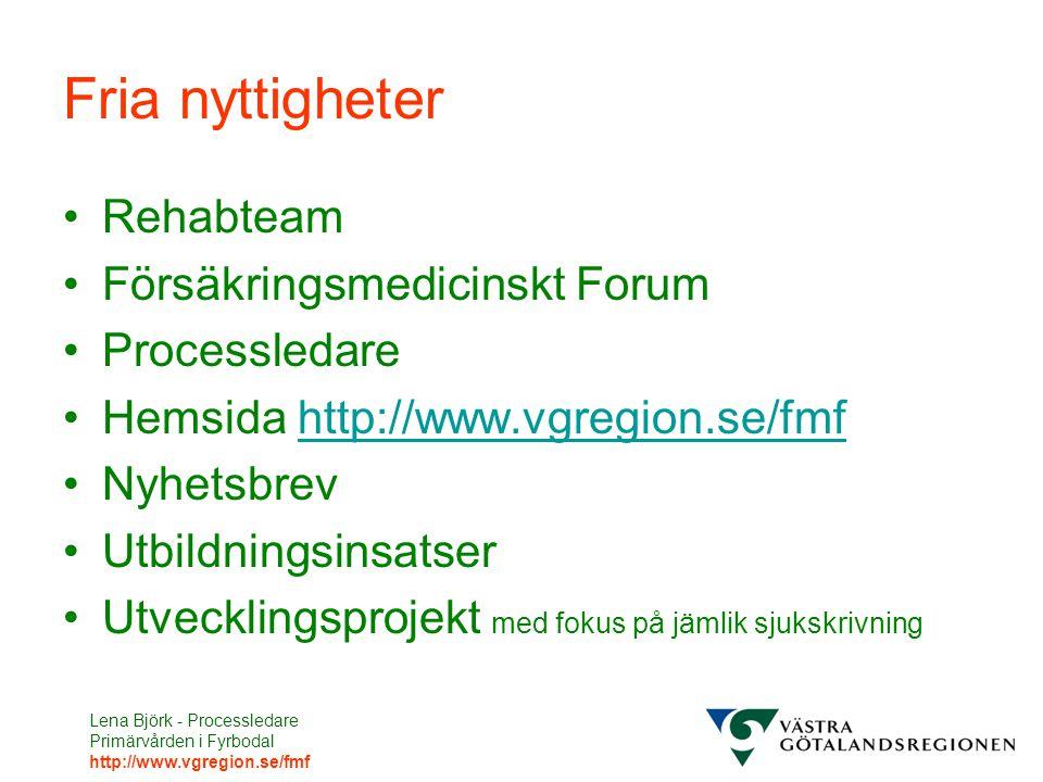 Lena Björk - Processledare Primärvården i Fyrbodal http://www.vgregion.se/fmf Fria nyttigheter Rehabteam Försäkringsmedicinskt Forum Processledare Hemsida http://www.vgregion.se/fmfhttp://www.vgregion.se/fmf Nyhetsbrev Utbildningsinsatser Utvecklingsprojekt med fokus på jämlik sjukskrivning