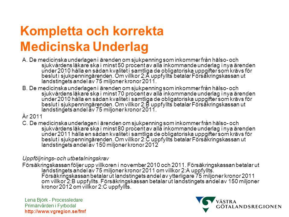 Lena Björk - Processledare Primärvården i Fyrbodal http://www.vgregion.se/fmf Kompletta och korrekta Medicinska Underlag A. De medicinska underlagen i
