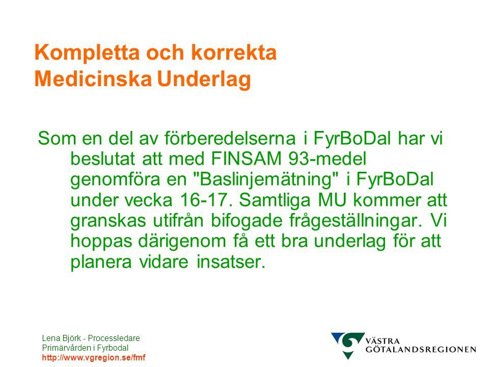 Lena Björk - Processledare Primärvården i Fyrbodal http://www.vgregion.se/fmf Kompletta och korrekta Medicinska Underlag Som en del av förberedelserna i FyrBoDal har vi beslutat att med FINSAM 93-medel genomföra en Baslinjemätning i FyrBoDal under vecka 16-17.