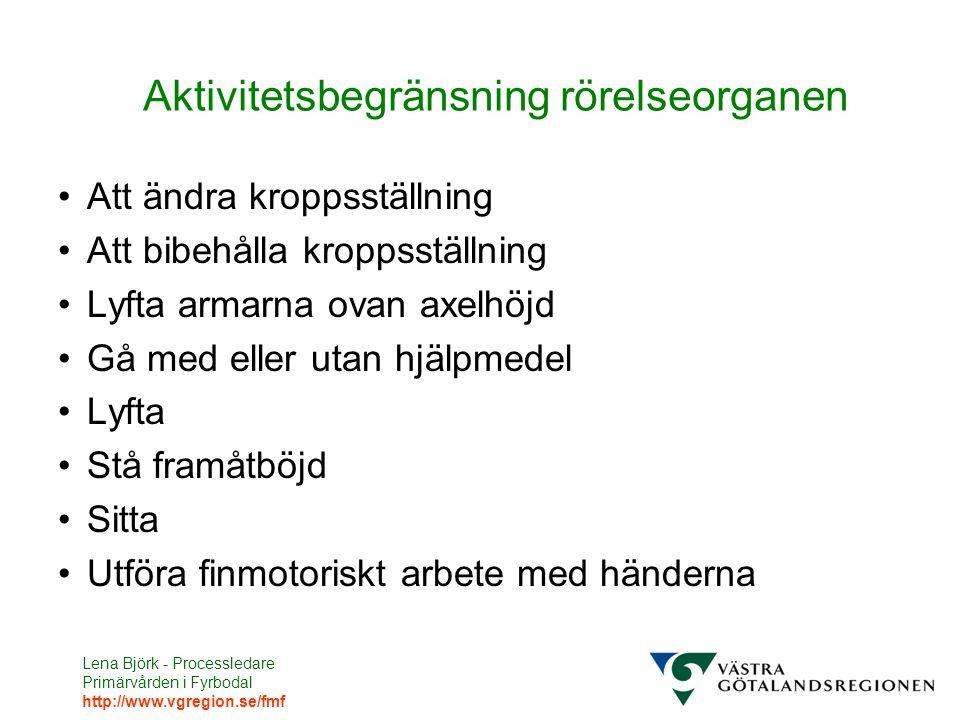 Lena Björk - Processledare Primärvården i Fyrbodal http://www.vgregion.se/fmf Aktivitetsbegränsning rörelseorganen Att ändra kroppsställning Att bibeh