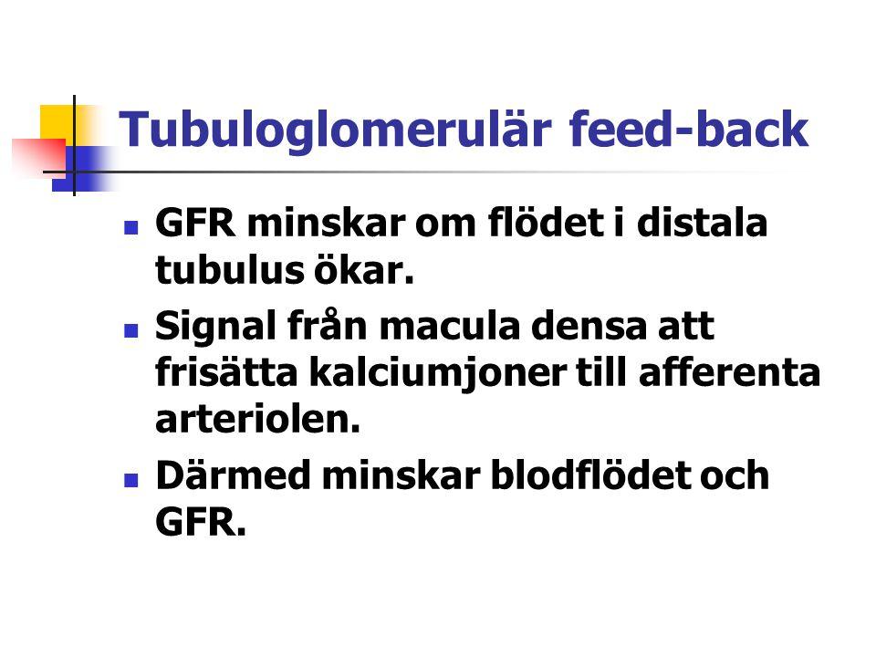 Tubuloglomerulär feed-back GFR minskar om flödet i distala tubulus ökar. Signal från macula densa att frisätta kalciumjoner till afferenta arteriolen.