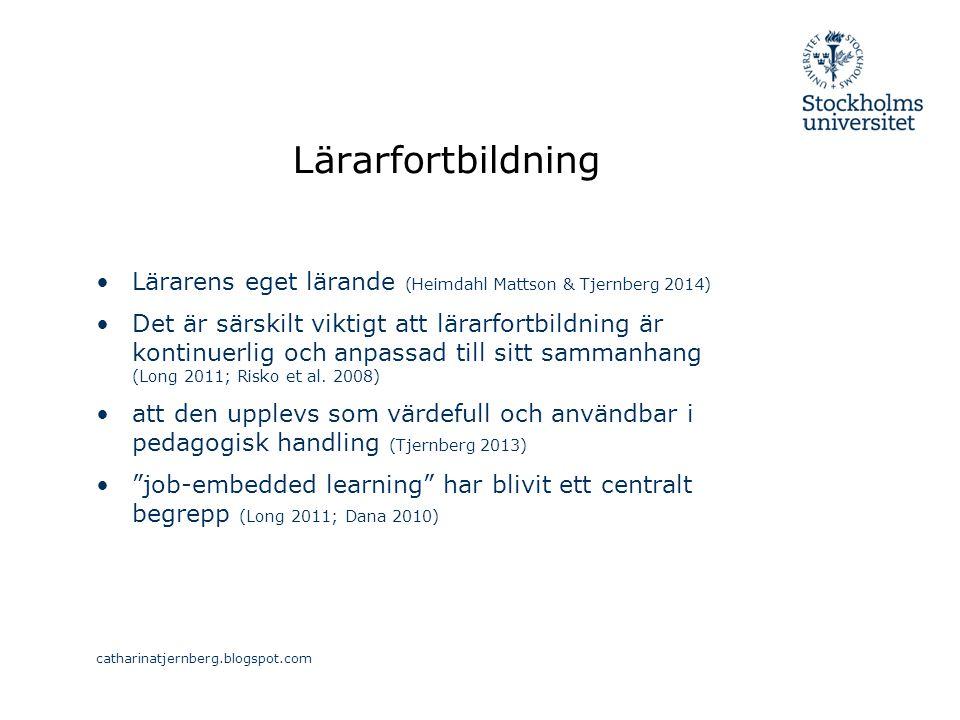 Lärarfortbildning Lärarens eget lärande (Heimdahl Mattson & Tjernberg 2014) Det är särskilt viktigt att lärarfortbildning är kontinuerlig och anpassad till sitt sammanhang (Long 2011; Risko et al.