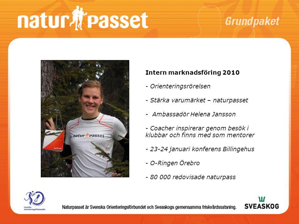 Intern marknadsföring 2010 - Orienteringsrörelsen - Stärka varumärket – naturpasset - Ambassadör Helena Jansson - Coacher inspirerar genom besök i klu