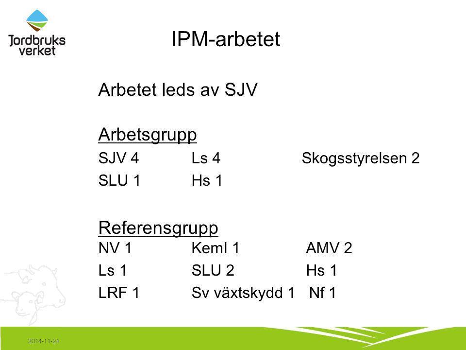 IPM-arbetet Arbetet leds av SJV Arbetsgrupp SJV 4Ls 4 Skogsstyrelsen 2 SLU 1Hs 1 Referensgrupp NV 1KemI 1 AMV 2 Ls 1SLU 2 Hs 1 LRF 1Sv växtskydd 1 Nf