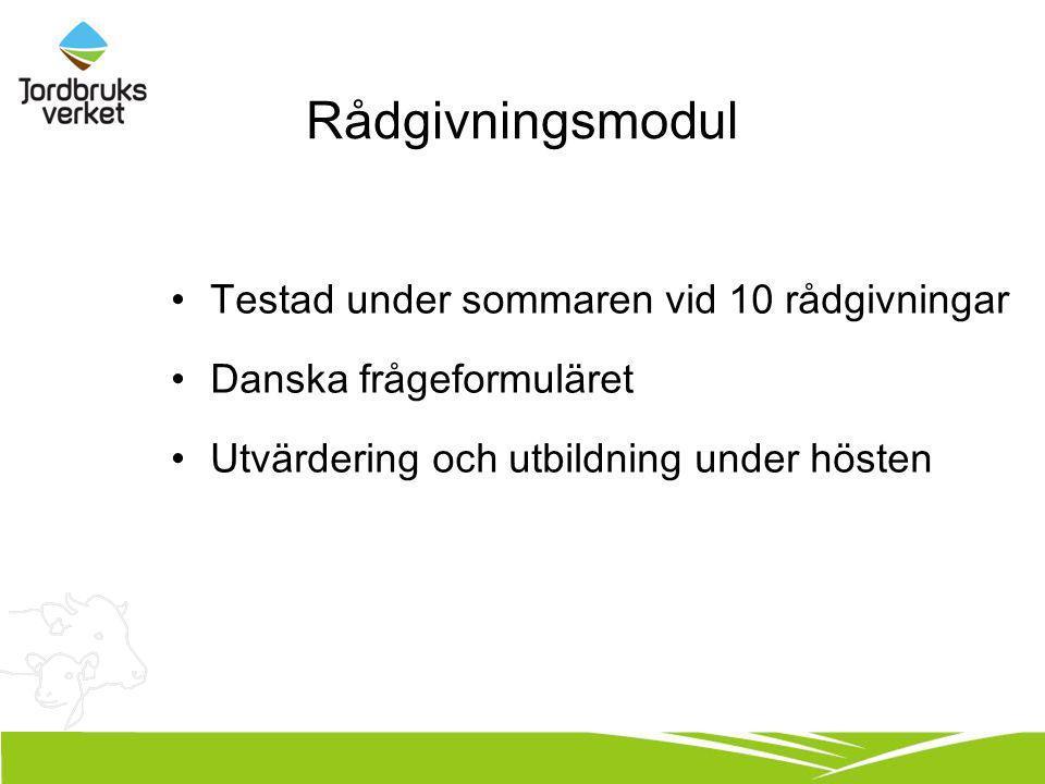 Rådgivningsmodul Testad under sommaren vid 10 rådgivningar Danska frågeformuläret Utvärdering och utbildning under hösten