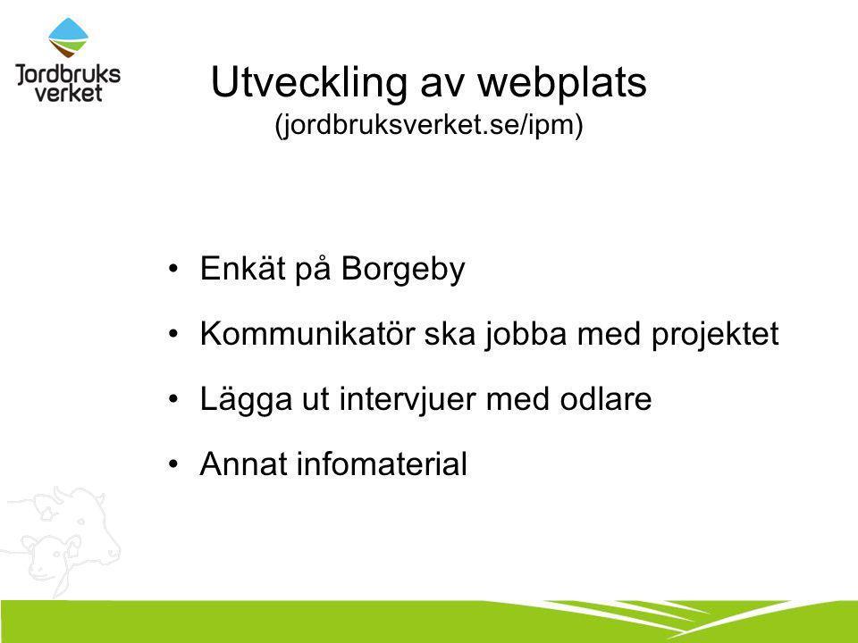 Utveckling av webplats (jordbruksverket.se/ipm) Enkät på Borgeby Kommunikatör ska jobba med projektet Lägga ut intervjuer med odlare Annat infomateria