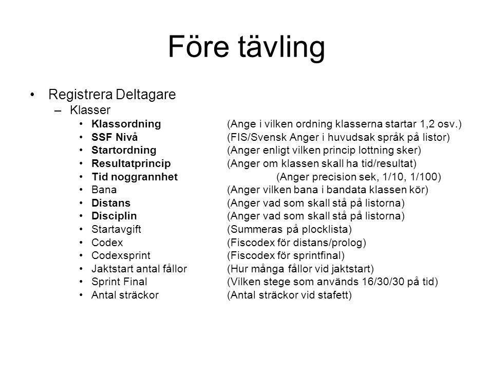 Före tävling Registrera Deltagare –Klasser Klassordning(Ange i vilken ordning klasserna startar 1,2 osv.) SSF Nivå(FIS/Svensk Anger i huvudsak språk p