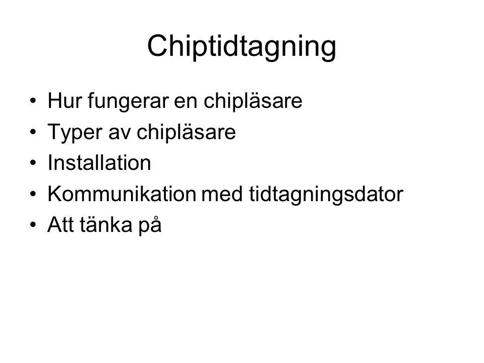Chiptidtagning Hur fungerar en chipläsare Typer av chipläsare Installation Kommunikation med tidtagningsdator Att tänka på