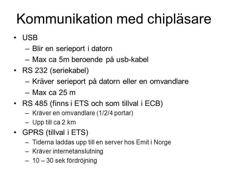 Kommunikation med chipläsare USB –Blir en serieport i datorn –Max ca 5m beroende på usb-kabel RS 232 (seriekabel) –Kräver serieport på datorn eller en omvandlare –Max ca 25 m RS 485 (finns i ETS och som tillval i ECB) –Kräver en omvandlare (1/2/4 portar) –Upp till ca 2 km GPRS (tillval i ETS) –Tiderna laddas upp till en server hos Emit i Norge –Kräver internetanslutning –10 – 30 sek fördröjning