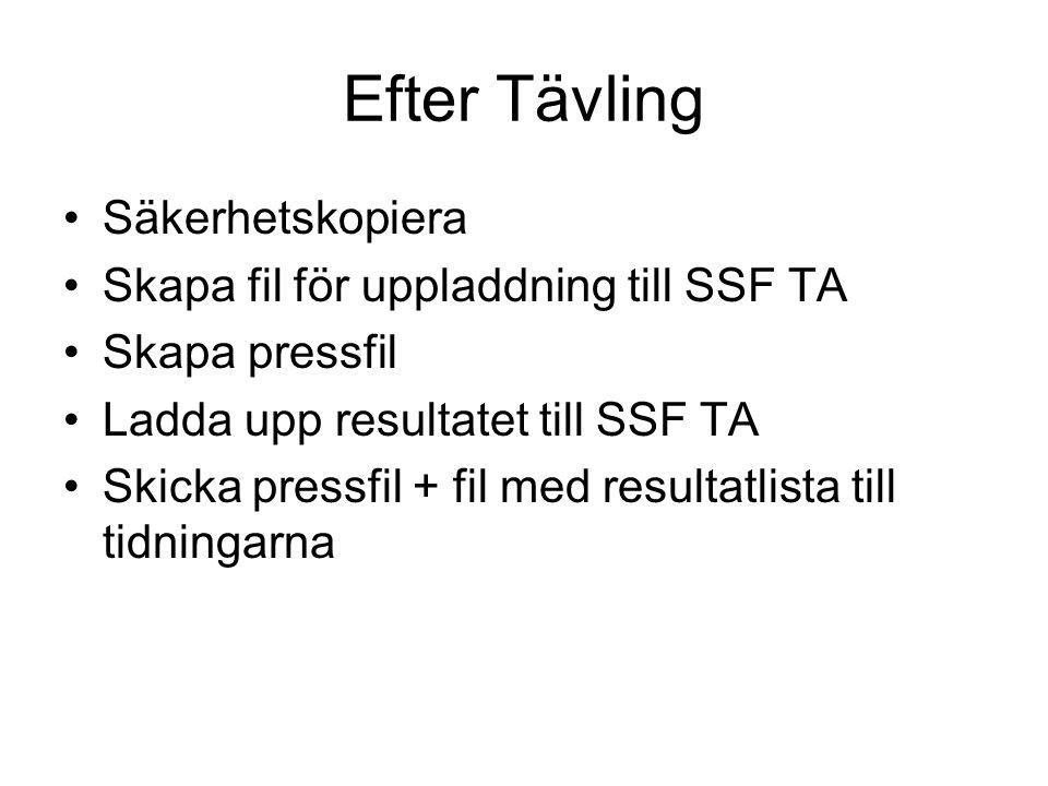 Efter Tävling Säkerhetskopiera Skapa fil för uppladdning till SSF TA Skapa pressfil Ladda upp resultatet till SSF TA Skicka pressfil + fil med resulta