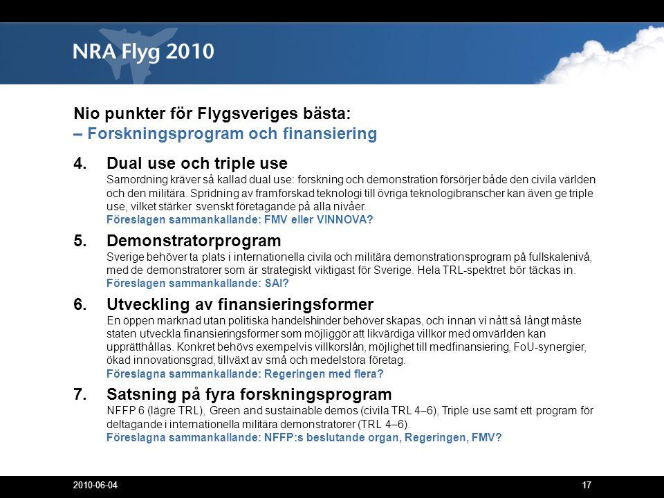 17 Nio punkter för Flygsveriges bästa: – Forskningsprogram och finansiering 4.Dual use och triple use Samordning kräver så kallad dual use: forskning och demonstration försörjer både den civila världen och den militära.