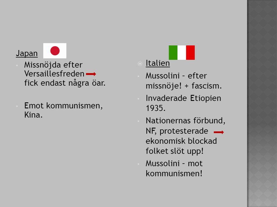 Japan Missnöjda efter Versaillesfreden fick endast några öar.