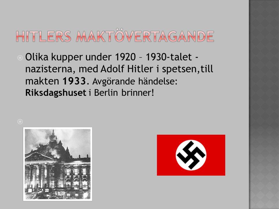  Olika kupper under 1920 – 1930-talet - nazisterna, med Adolf Hitler i spetsen,till makten 1933.