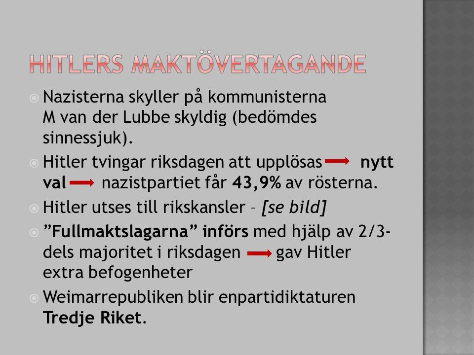  Nazisterna skyller på kommunisterna M van der Lubbe skyldig (bedömdes sinnessjuk).