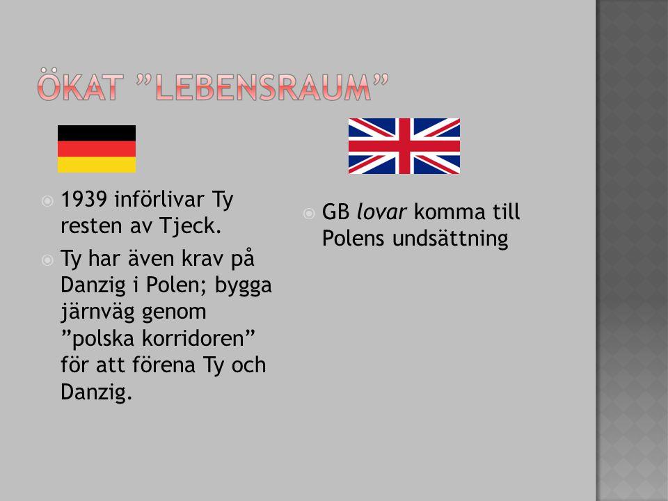  1939 införlivar Ty resten av Tjeck.