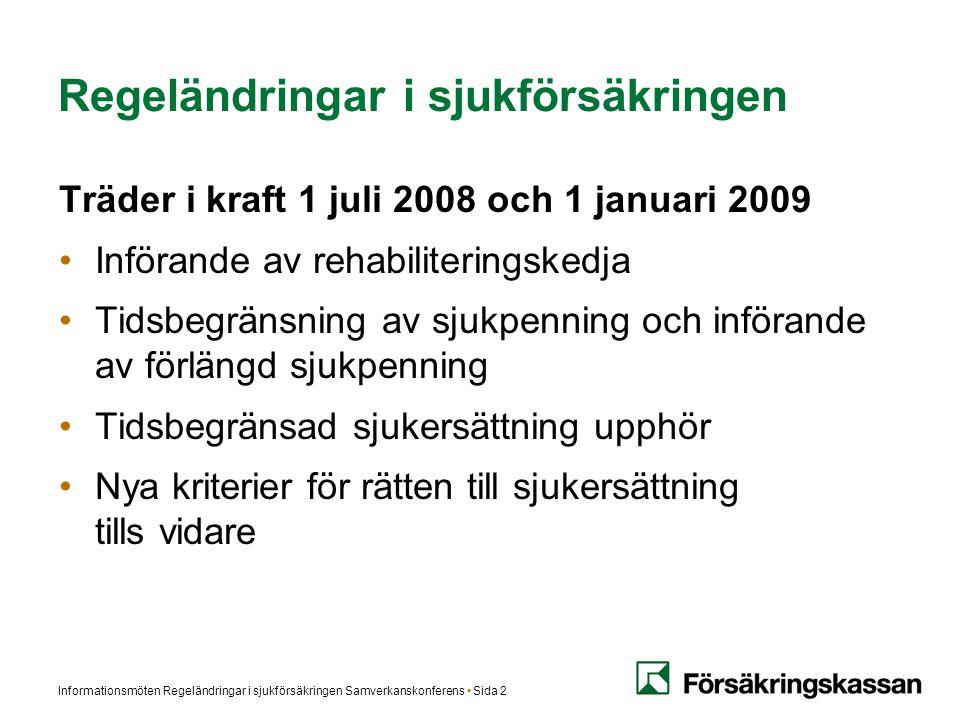 Informationsmöten Regeländringar i sjukförsäkringen Samverkanskonferens Sida 2 Regeländringar i sjukförsäkringen Träder i kraft 1 juli 2008 och 1 janu