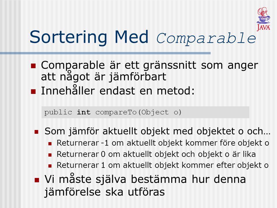 Sortering Med Comparable Comparable är ett gränssnitt som anger att något är jämförbart Innehåller endast en metod: Som jämför aktuellt objekt med obj