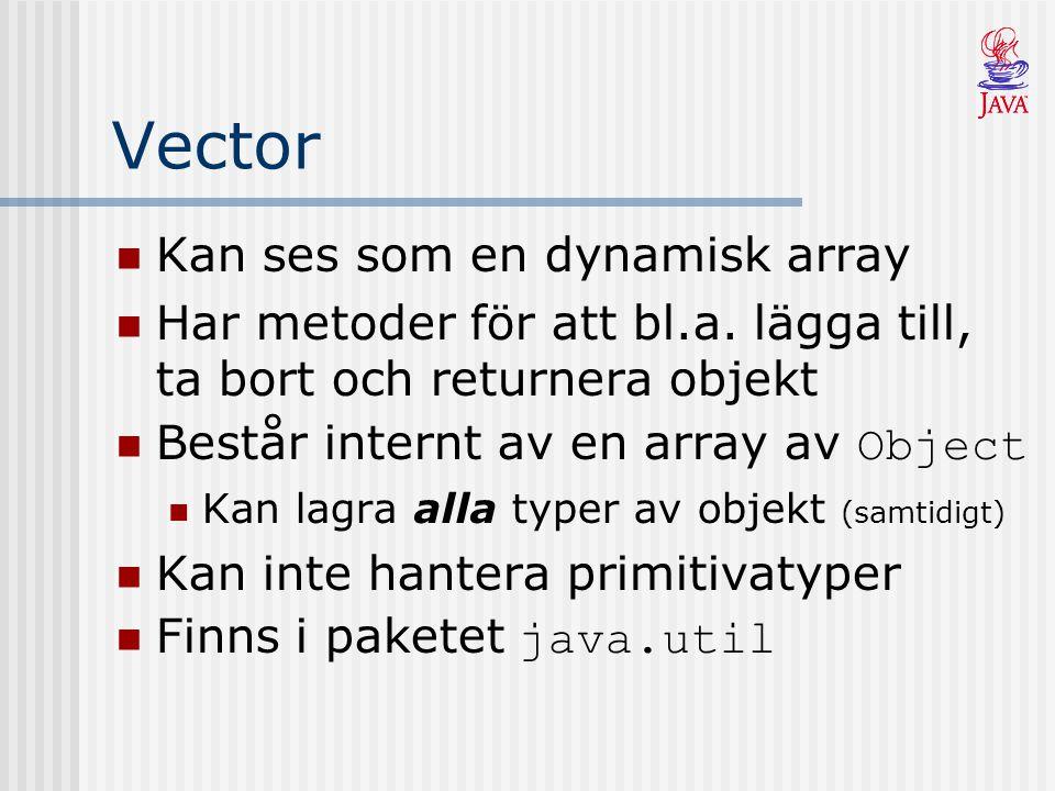Vector Kan ses som en dynamisk array Har metoder för att bl.a. lägga till, ta bort och returnera objekt Består internt av en array av Object Kan lagra