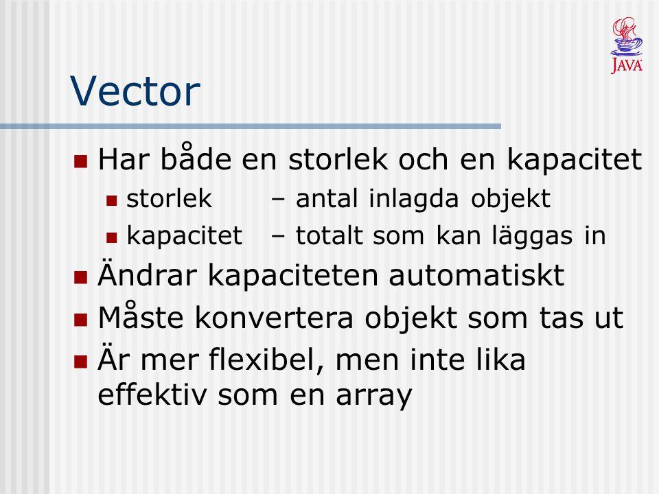 Vector Har både en storlek och en kapacitet storlek– antal inlagda objekt kapacitet – totalt som kan läggas in Ändrar kapaciteten automatiskt Måste ko