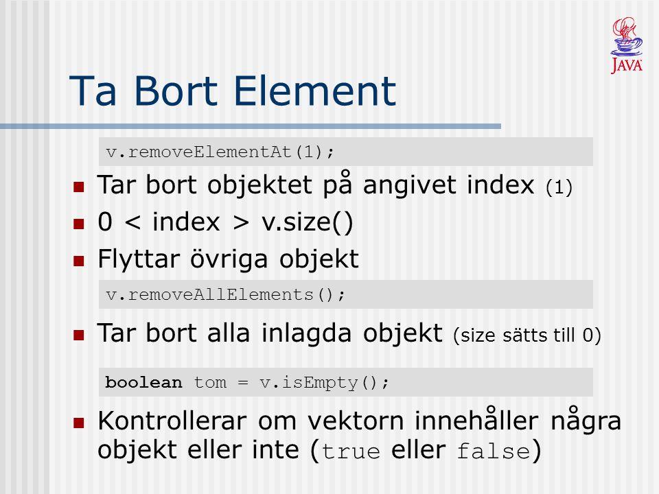 Ta Bort Element v.removeElementAt(1); Tar bort objektet på angivet index (1) 0 v.size() Flyttar övriga objekt v.removeAllElements(); Tar bort alla inl