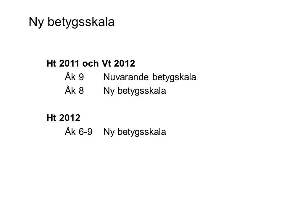 Ny betygsskala Ht 2011 och Vt 2012 Åk 9 Nuvarande betygskala Åk 8 Ny betygsskala Ht 2012 Åk 6-9 Ny betygsskala