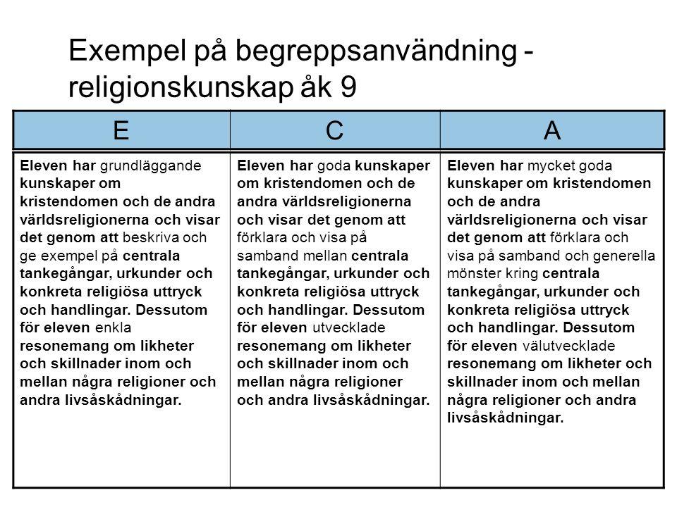 Exempel på begreppsanvändning - religionskunskap åk 9 Eleven har grundläggande kunskaper om kristendomen och de andra världsreligionerna och visar det genom att beskriva och ge exempel på centrala tankegångar, urkunder och konkreta religiösa uttryck och handlingar.