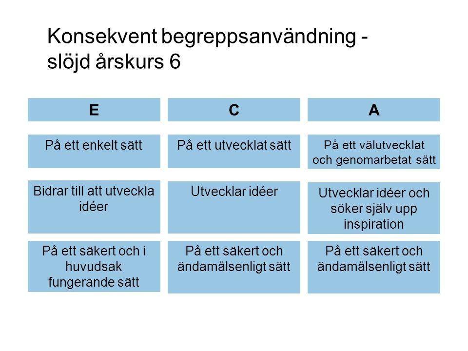 Konsekvent begreppsanvändning - slöjd årskurs 6 ECA På ett enkelt sättPå ett utvecklat sätt På ett välutvecklat och genomarbetat sätt Bidrar till att