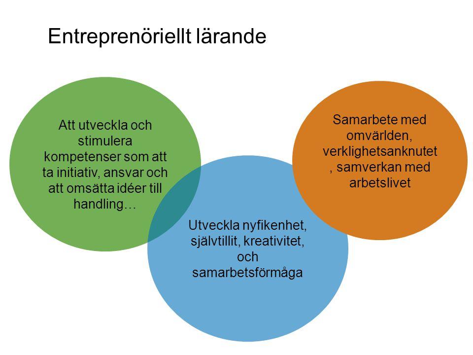 Entreprenöriellt lärande Att utveckla och stimulera kompetenser som att ta initiativ, ansvar och att omsätta idéer till handling… Utveckla nyfikenhet, självtillit, kreativitet, och samarbetsförmåga Samarbete med omvärlden, verklighetsanknutet, samverkan med arbetslivet