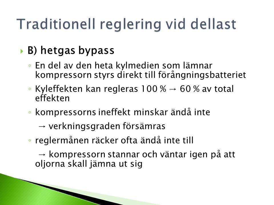  C) frekvensomvandlarstyrd kompressor ◦ reglerområdet betydligt mindre än för t.ex.