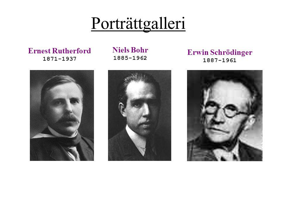 Porträttgalleri Ernest Rutherford 1871-1937 Niels Bohr 1885-1962 Erwin Schrödinger 1887-1961