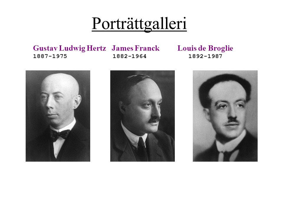 Porträttgalleri Gustav Ludwig Hertz James Franck 1887-1975 1882-1964 Louis de Broglie 1892-1987