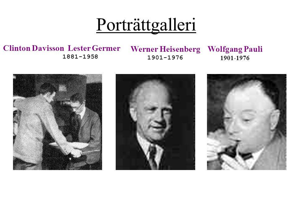 Porträttgalleri Clinton Davisson Lester Germer 1881-1958 Werner Heisenberg 1901-1976 Wolfgang Pauli 1901-1976