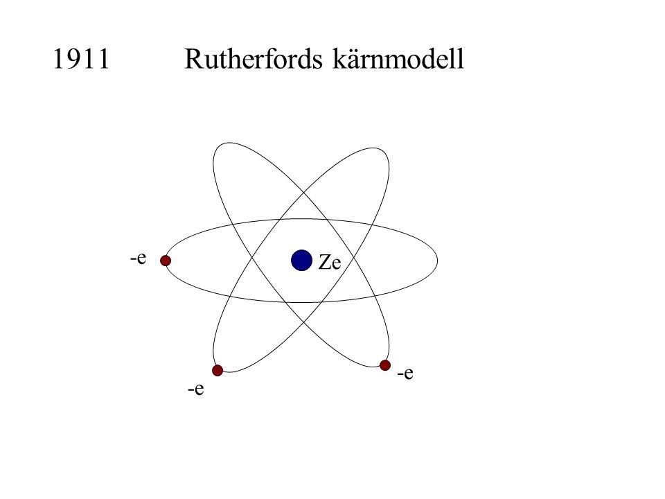 1911Rutherfords kärnmodell -e Ze