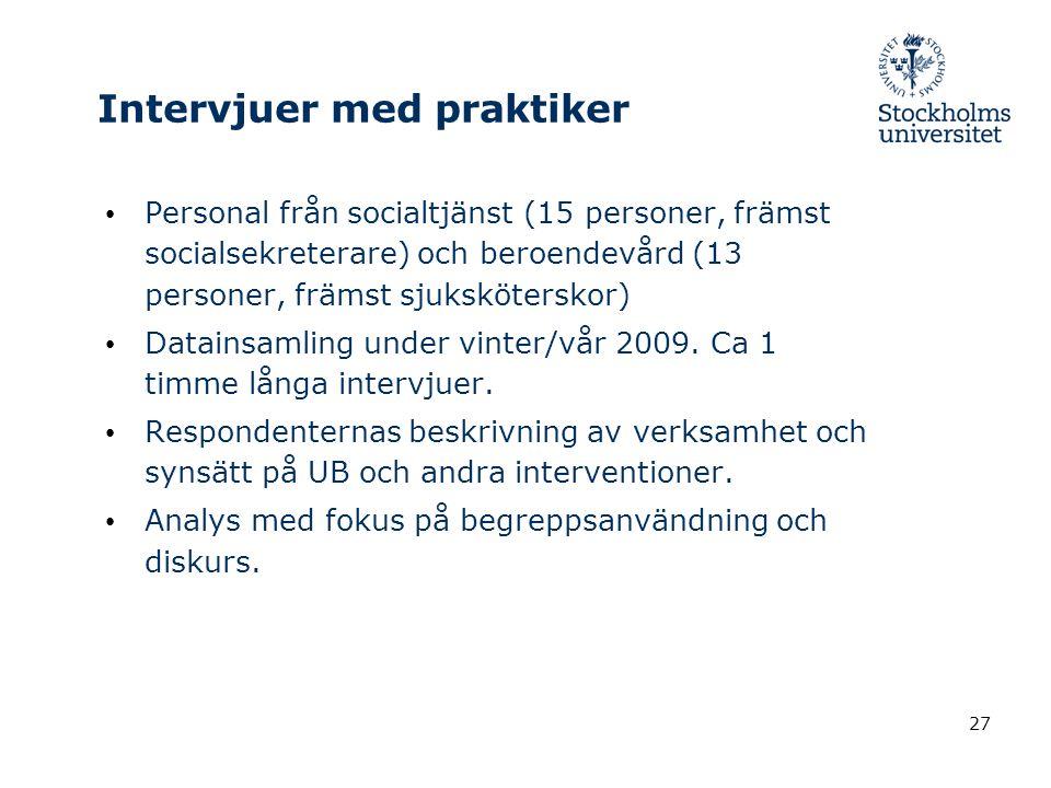 27 Intervjuer med praktiker Personal från socialtjänst (15 personer, främst socialsekreterare) och beroendevård (13 personer, främst sjuksköterskor) Datainsamling under vinter/vår 2009.
