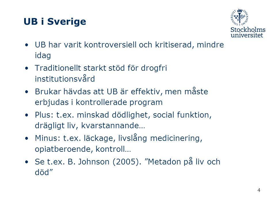 4 UB i Sverige UB har varit kontroversiell och kritiserad, mindre idag Traditionellt starkt stöd för drogfri institutionsvård Brukar hävdas att UB är effektiv, men måste erbjudas i kontrollerade program Plus: t.ex.