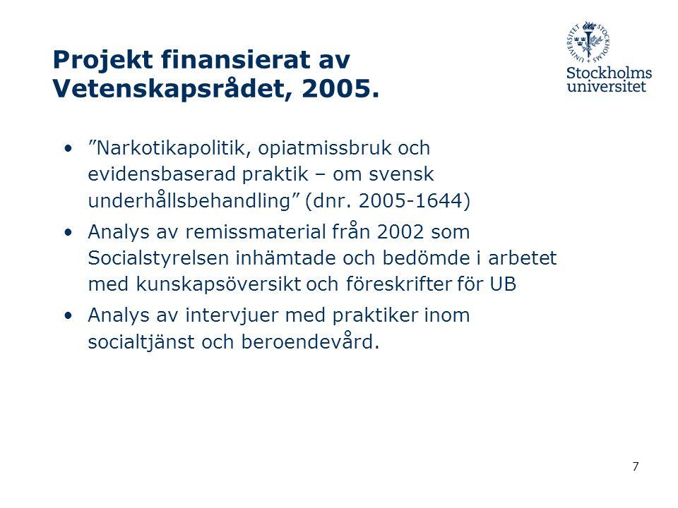 7 Projekt finansierat av Vetenskapsrådet, 2005.