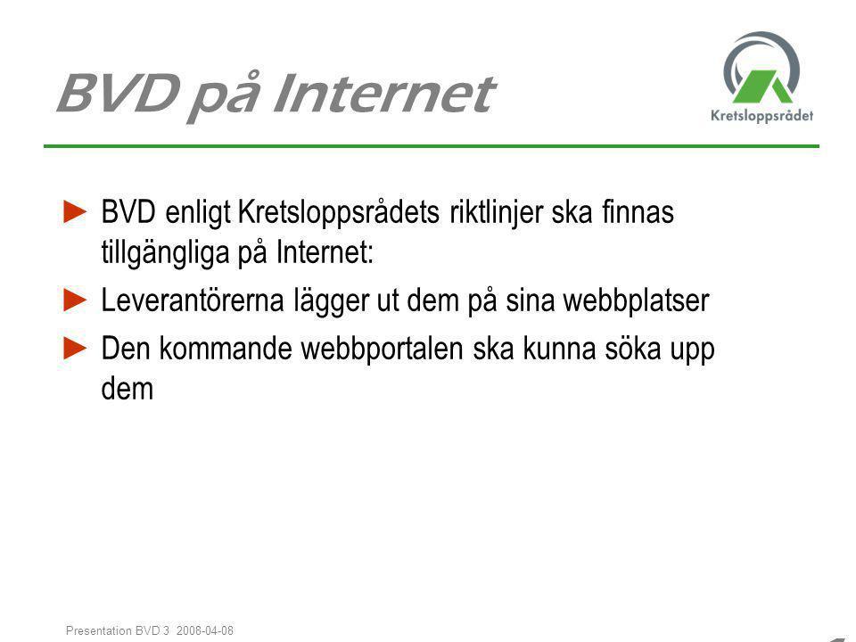 1010 1010 Presentation BVD 3 2008-04-08 BVD på Internet ► BVD enligt Kretsloppsrådets riktlinjer ska finnas tillgängliga på Internet: ► Leverantörerna