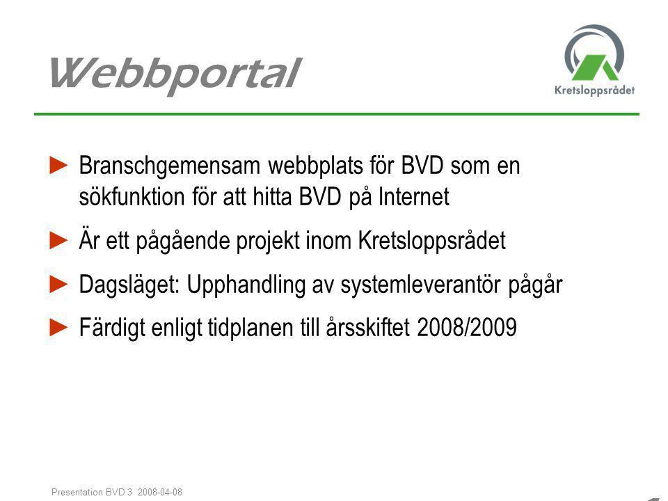 11 Presentation BVD 3 2008-04-08 Webbportal ► Branschgemensam webbplats för BVD som en sökfunktion för att hitta BVD på Internet ► Är ett pågående pro