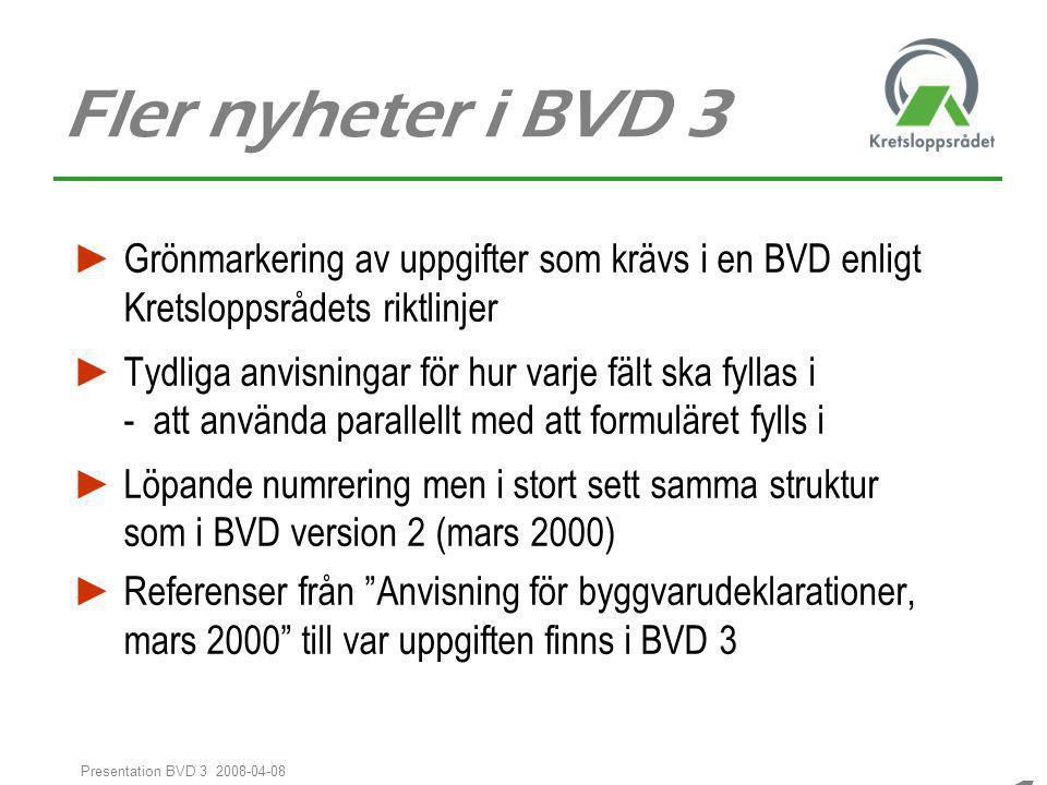 1414 1414 Presentation BVD 3 2008-04-08 Fler nyheter i BVD 3 ► Grönmarkering av uppgifter som krävs i en BVD enligt Kretsloppsrådets riktlinjer ► Tydl