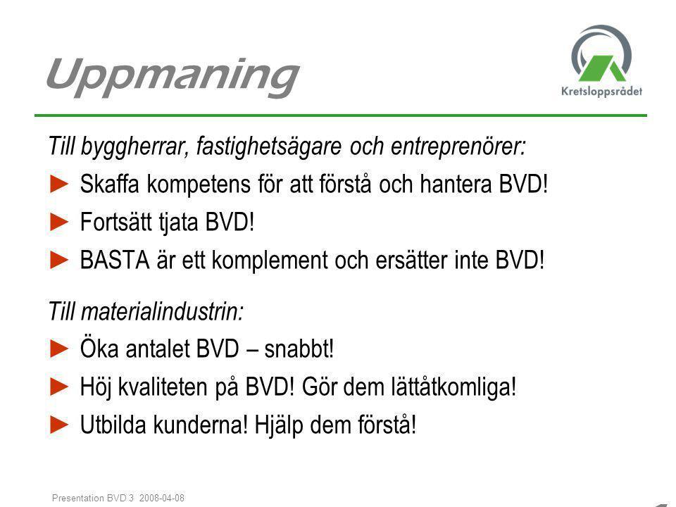 1616 1616 Presentation BVD 3 2008-04-08 Uppmaning Till byggherrar, fastighetsägare och entreprenörer: ► Skaffa kompetens för att förstå och hantera BV