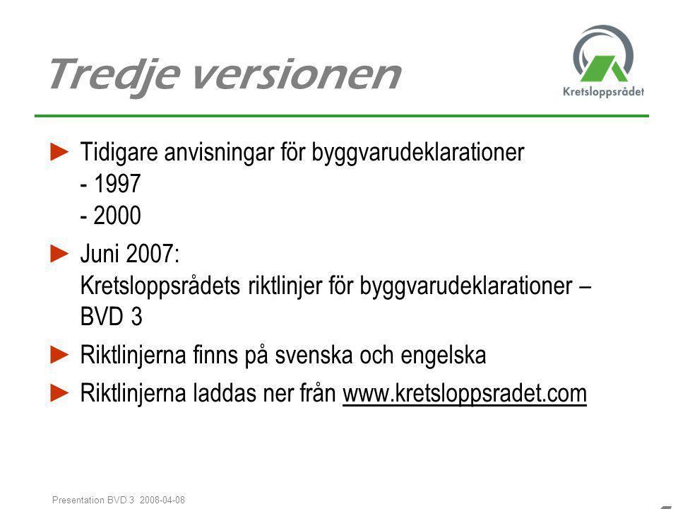 44 Presentation BVD 3 2008-04-08 Tredje versionen ► Tidigare anvisningar för byggvarudeklarationer - 1997 - 2000 ► Juni 2007: Kretsloppsrådets riktlin