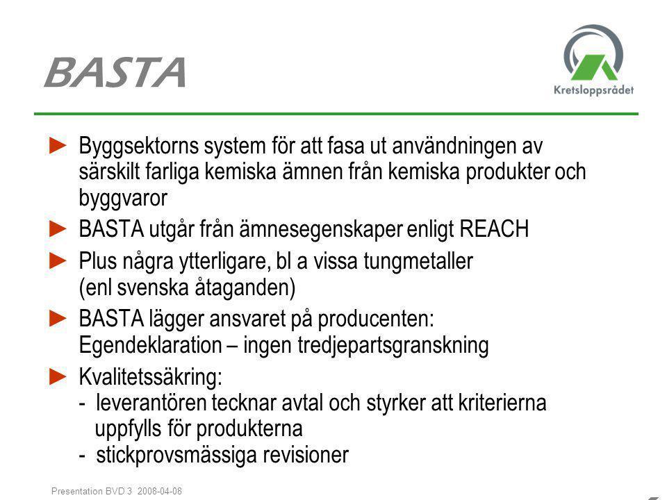66 Presentation BVD 3 2008-04-08 BASTA ► Byggsektorns system för att fasa ut användningen av särskilt farliga kemiska ämnen från kemiska produkter och